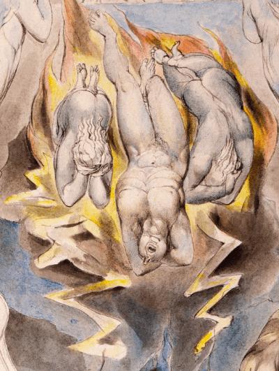 William Blake - détail de l'aquarelle de l'illustration de la planche 14 du Livre de Job : The Fall of Satan (1805)