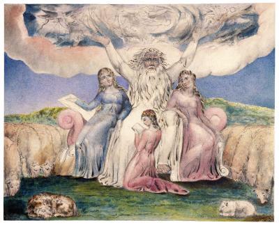 William Blake - aquarelle de l'illustration de la planche 20 du Livre de Job : Job et ses filles (1805)
