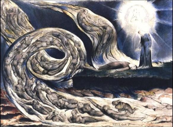 William Blake (Londres, 1757-1827), Le cercle des luxurieux, 1824-27, d'après le Chant V de L'Enfer de la Divine Comédie de Dante.