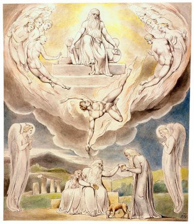 William Blake - aquarelle de l'illustration de la planche 5 du Livre de Job : Satan Going Forth from the Presence of the Lord (1805)