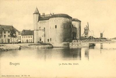 Bruges -carte postale collection Frantisek - vue de Kruispoort (porte Sainte Croix)