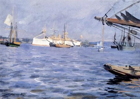 Anders Zorn - the battleship_baltimore in Stockholm harbor, 1890