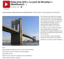 France Culture - émission sur le pont de Brooklyn