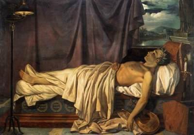 Byron sur son lit de mort - auteur inconnu