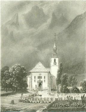 Samuel Birmann (suisse, 1793-1847) - Eglise de Chamonix, 1830