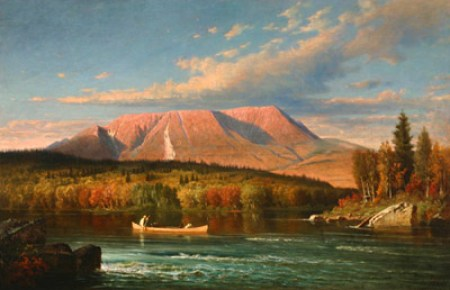 Virgil Macey Williams (American 1830-1886), View of Mt. Katahdin from the West Bank of the Penobscot River