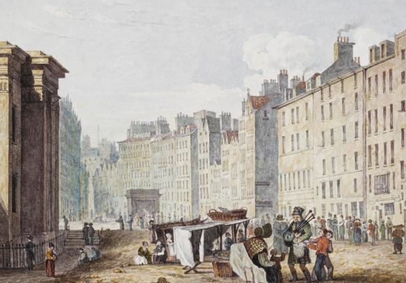 View of the Lawnmarket, Edinburgh, 1827 - attributed to Samuel Dukinfield Swarbreck, after drawings by John Wilson Ewbank, 1825