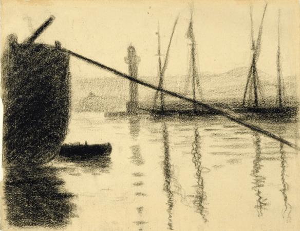 Siganc - Saint-Tropez, la jetée vue du chantier naval , 1892, crayon conté photo M. Aeschimann