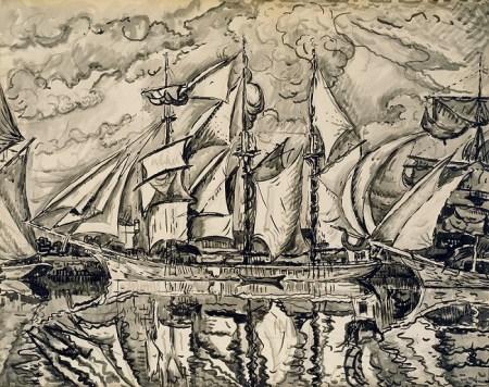 Paul Signac - Etude pour trois mats terre neuvas, 1931 - Encre de Chine, lavis d'encre, pierre noire sur papier