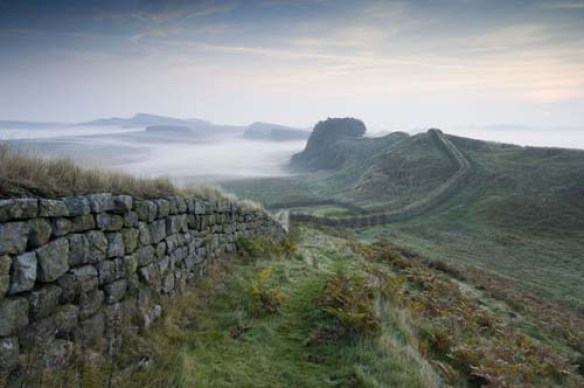 Hadrian's Wall winding it's way over the Northumbrian landscape