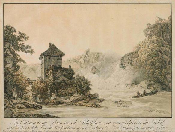 Loutherbourg (graveur Chr. de Mechel) - La cataracte du Rhin près de Schaffhouse au moment du lever du soleil au-dessous de la Tour du Péage, à l'endroit où l'on décharge les marchandises pour descendre le fleuve, 1797
