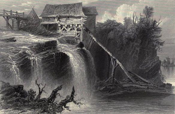 w-h-bartlett-mill-on-the-rideau-river-near-bytown-canadian-scenery