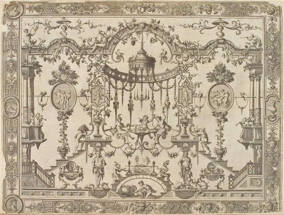 Jean Berrain, planche gravée, modèle d_éléments décoratifs pour meubles Boulle