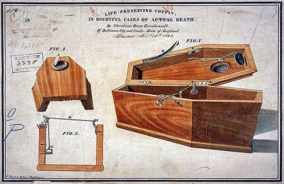 Eisenbrandt_coffin - Conception à partir de 1843 pour un cercueil de préservation de la vie - complet avec des trous de respiration et couvercle facile à ouvrir - à utiliser dans le cas des morts douteux .jpg