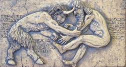 Enkidou sous la forme semi-aniamle combat Gilgamesh