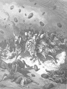 Enlil rains stones on Canaanites
