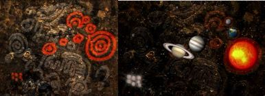 Fodhla, Oldcastle wall fresco solar system map and overlay from Ancient Aliens, Season 5, Disk 2, ):22:45