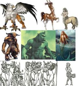 Genetic experiments: griffin, centaurs, minotar, cyclops, mermaid, failures