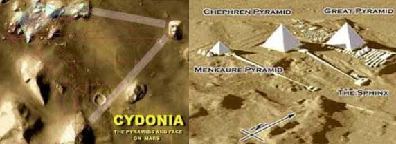 Earth Mars Pyramid collage