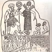 Inanna and Sargon conquered Sumer with the weapons symbolized in their hands.