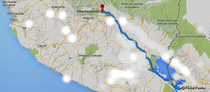 Ollantaytambo's 637 km (miles along the Urubamba River from Tiahuancu (roads and airroute erased)