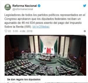 Diputados recibirán aguinaldo libre de impuestos