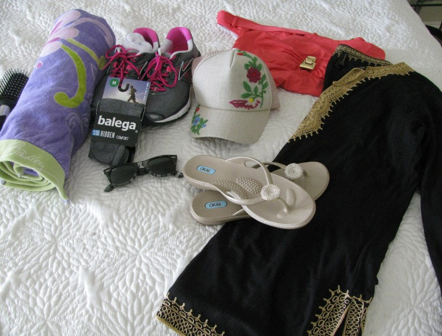 Pool cover up, change of shoes and or clothing, bathing suit, hat, sunglasses, and maybe a towel.