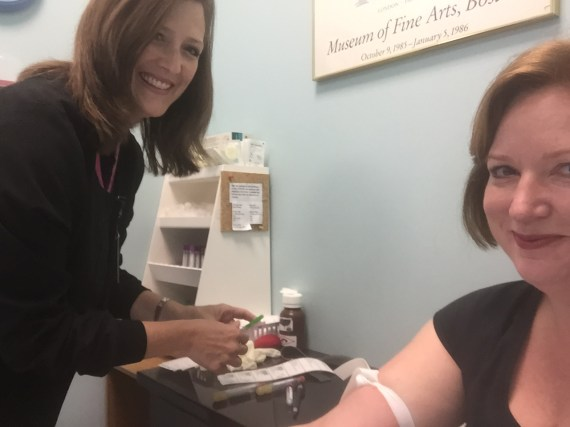 My blood was drawn first thing Saturday morning. It was quick and pain free.