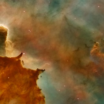 Carina Nebula Details: Great Clouds Credit for Hubble Image: NASA, ESA, N. Smith (University of California, Berkeley), and The Hubble Heritage Team (STScI/AURA) Credit for CTIO Image: N. Smith (University of California, Berkeley) and NOAO/AURA/NSF The Hubble Space Telescope is a project of international cooperation between NASA and the European Space Agency. NASA's Goddard Space Flight Center manages the telescope. The Space Telescope Science Institute conducts Hubble science operations. Goddard is responsible for HST project management, including mission and science operations, servicing missions, and all associated development activities.