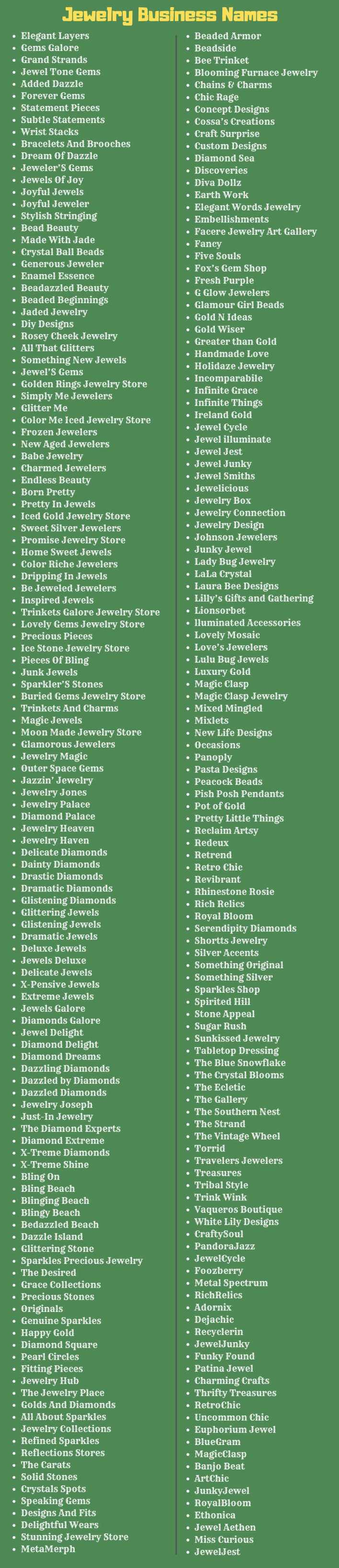 300 Catchy Jewelry Business Name Ideas Enlightening Words