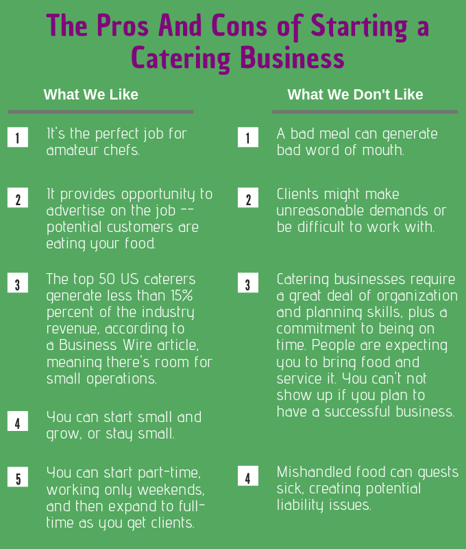 the pros and cons of starting a catering business