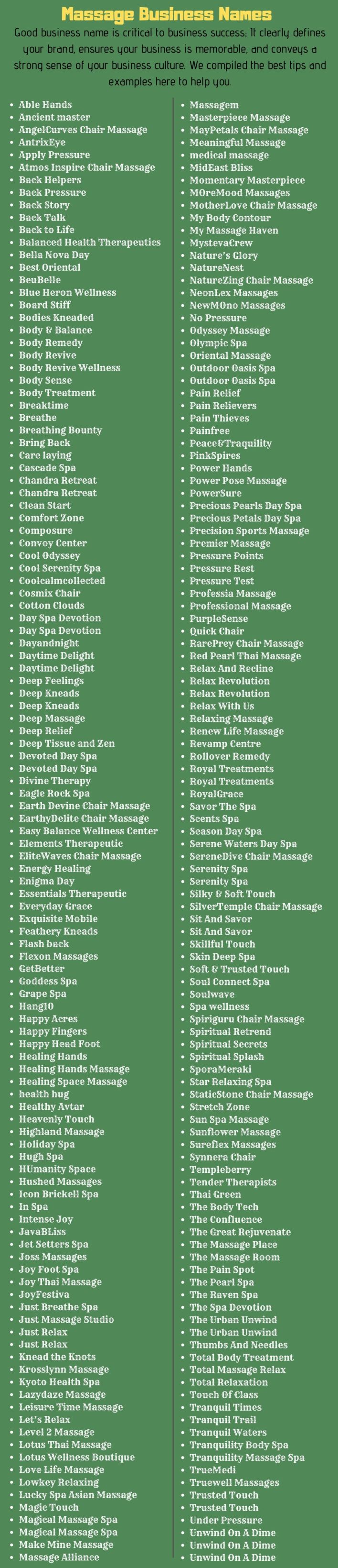 Massage Business Names