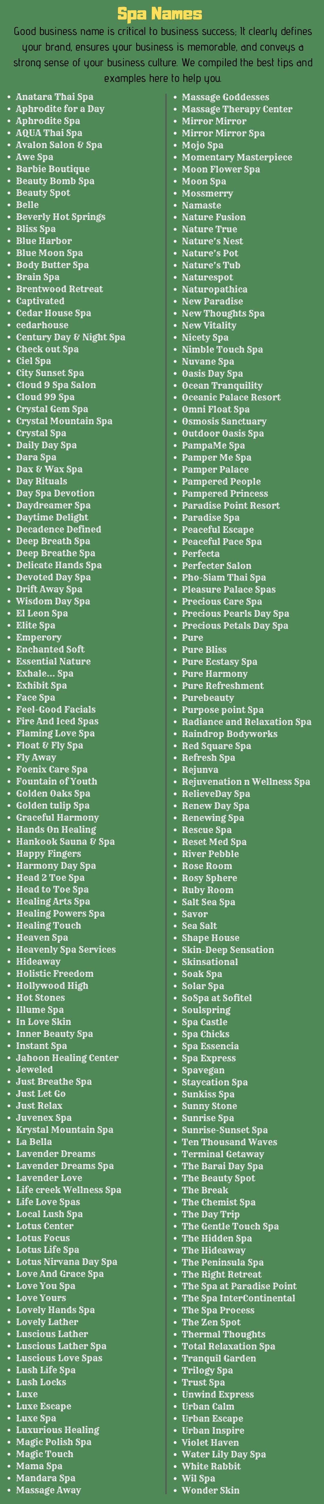 Spa Names: 8+ Unique and Catchy Medical Spa Name ideas