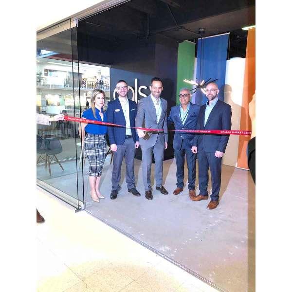 L to R: Jasminka Horvat, Martin Leguerrier, Joey Khatri, Aslam Khatri, and Chris Warnock cut the ribbon on DALS' new expanded showroom at TM 3602
