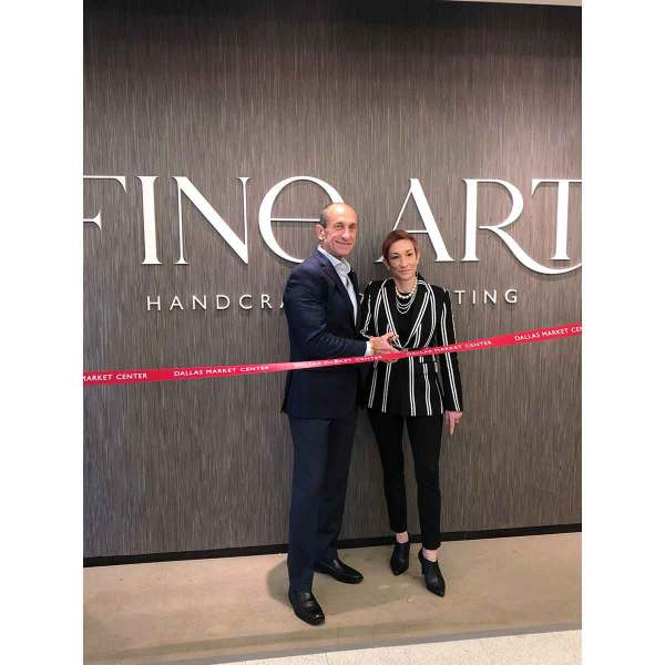 Rene Quintana, Co-President and COO, and Laura Goldblum, Co-President and CFO, cutting the ribbon at Fine Art Handcrafted Lighting's new space at TM 4705. The company returned to Lightovation after a hiatus