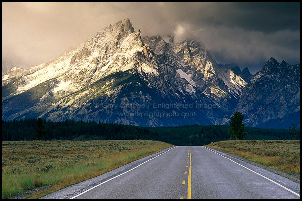 Fall Country Wallpaper Picture Straight Road Heading Toward Snow Capped Mountain