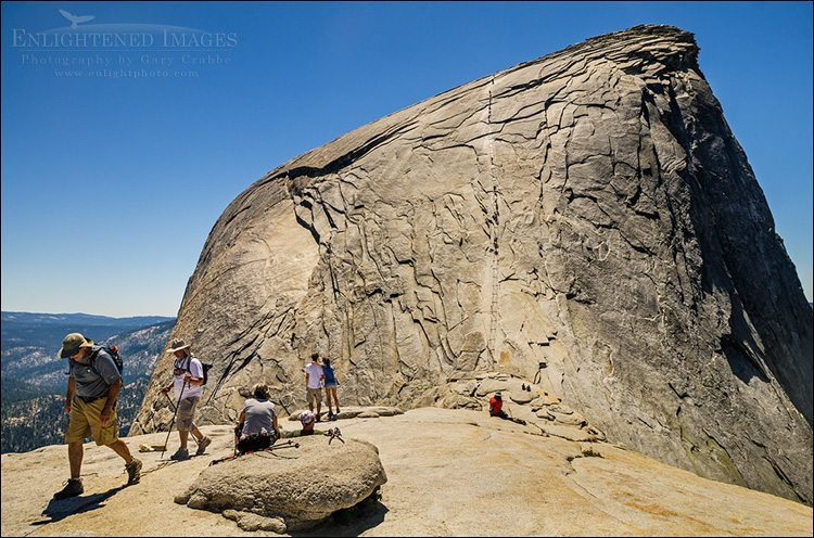 Photo: Hikers on the subdome just before the cables section route up Half Dome, Yosemite National Park, California