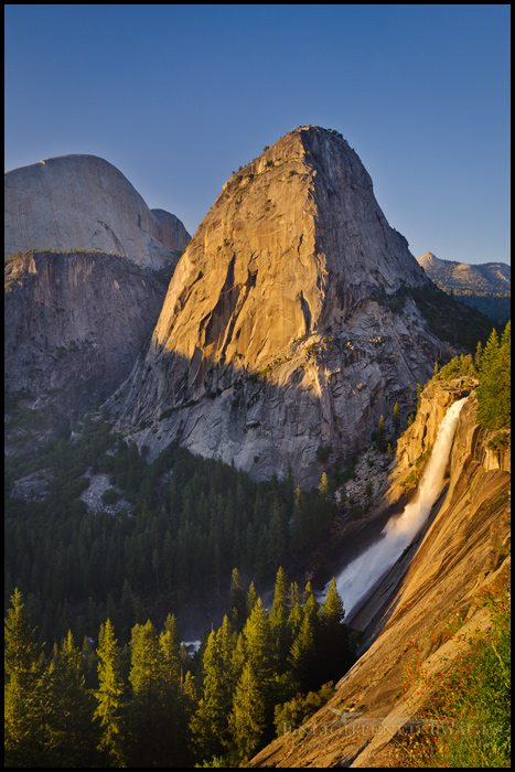Sunset light on Liberty Cap and Nevada Fall along the Grand Staircase of the Merced River, Yosemite National Park, California - ID# VLY2-2782