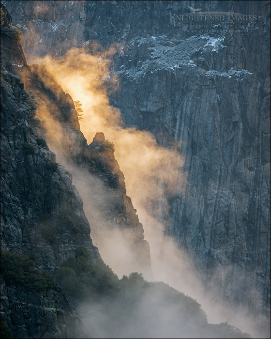 Photo: Sunlit morning mist along cliff face in Yosemite Valley, Yosemite National Park, California