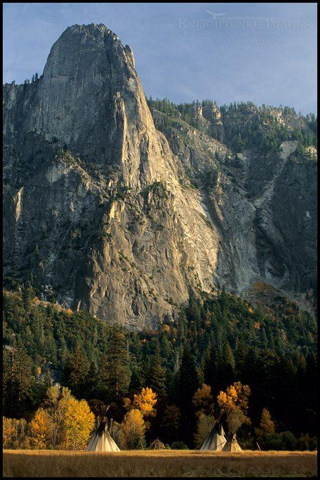 Photo Native American Teepee tents in meadow below Sentinel Rock Yosemite Valley Yosemite National Park California & Native American Teepees in Yosemite Valley - Gary Crabbe ...
