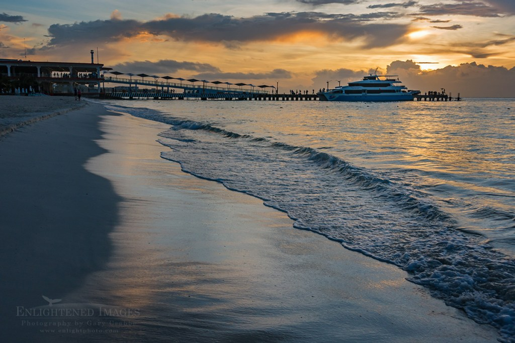 Photo: Sunrise light over the ferry and beach at Playa Del Carmen, Quintana Roo, Yucatan Peninsula, Mexico