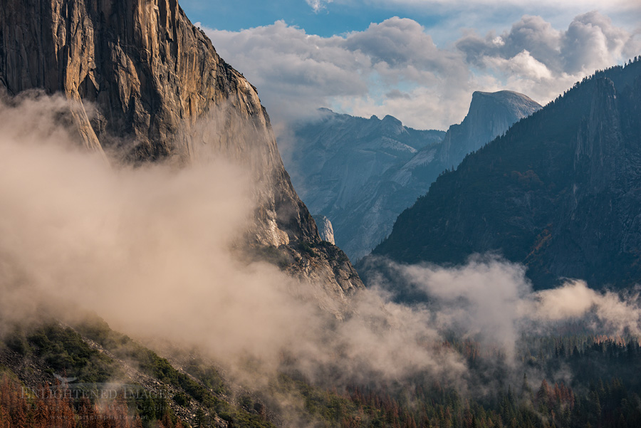 Photo: Morning mist after a storm along the base of El Capitan in Yosemite Valley, as seen from Tunnel View, Yosemite National Park, California