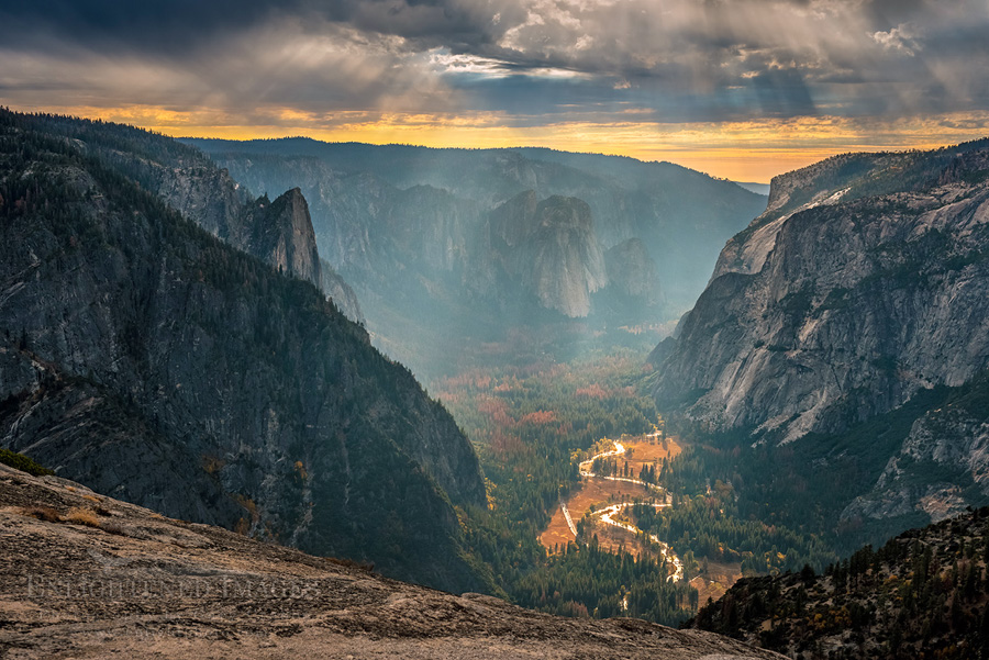 Photo: Clouds over Yosemite Valley from North Dome, Yosemite National Park, California