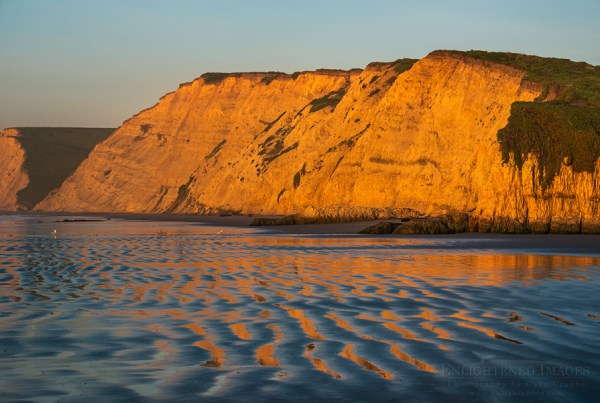 Photo: Sunrise light on the cliffs at Drakes Beach, Point Reyes National Seashore, Marin County, California