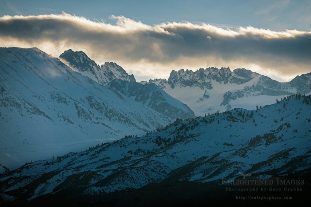 Photo: Cloud over the Palisade Range in winter, Eastern Sierra, California