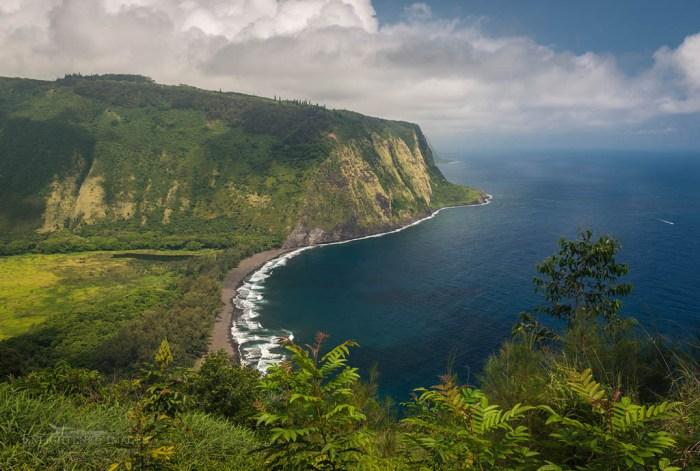 Photo: View of the steep coastal cliffs along Waipio Bay from the Waipio Valley Lookout, Hāmākua District, The Big Island of Hawai'i, Hawaii