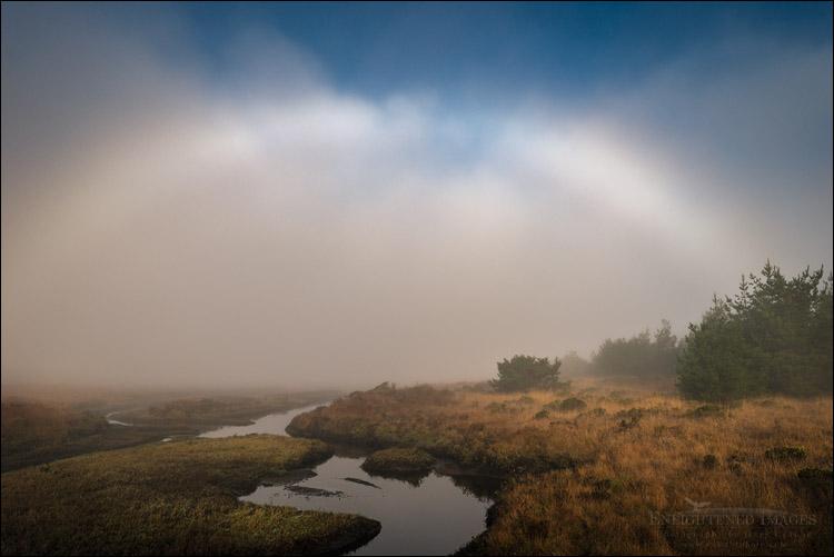 Photo: Fogbow over tidal estuary at Limantour Beach, Point Reyes National Seashore, Marin County, California
