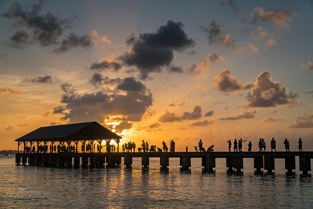 Photo: People enjoying the sunset on the Hanalei Pier, Hanalei, Kauai, Hawaii