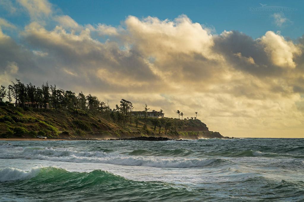 Photo: Morning clouds an ocean surf at Keālia Beach, Kapaa, Kauai, Hawaii