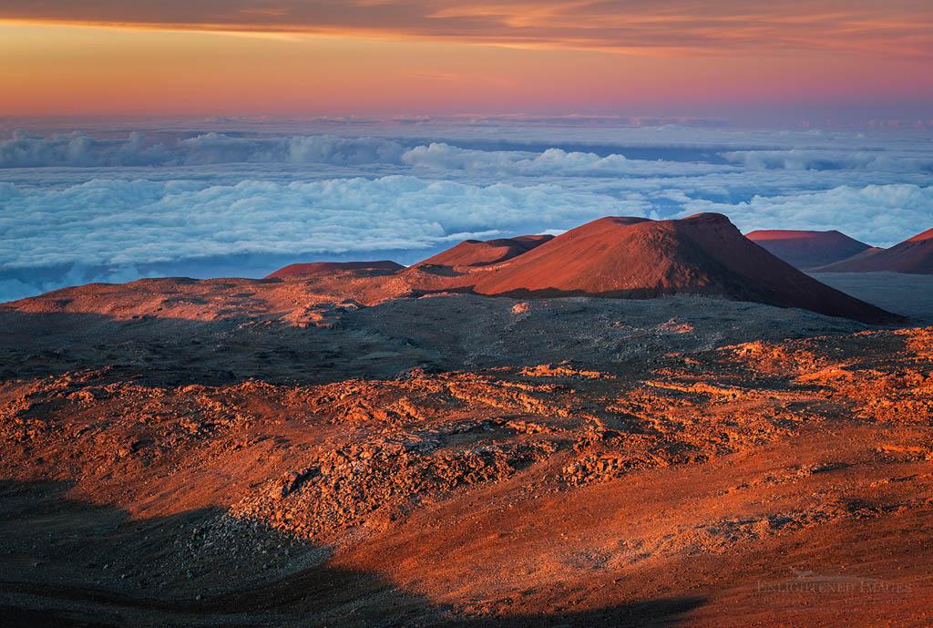 Photo: Sunset light on the summit of Mauna Kea, Big Island of Hawai'i, Hawaii